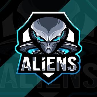Чужой талисман логотип кибер дизайн шаблона