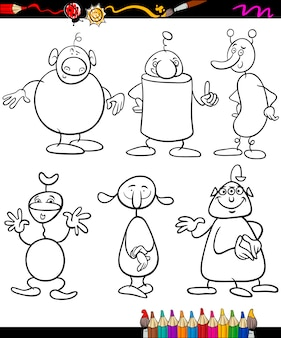 Aliens set cartoon coloring book