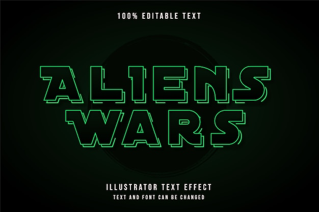 Aliens wars,3d editable text effect green gradation neon shadow text style
