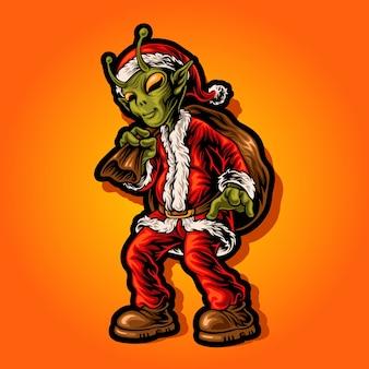 クリスマスにサンタの衣装を着ているエイリアン