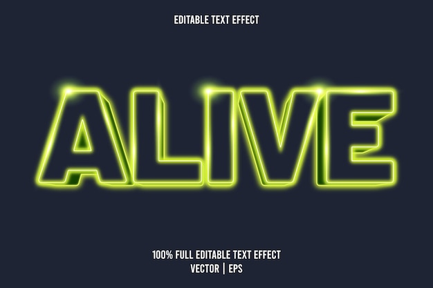Alive editable text effect neon style