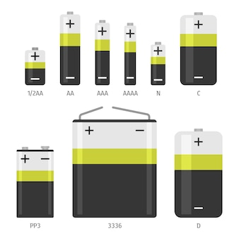 Alkaline battery different sizes  icons set