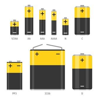 アルカリ乾電池のサイズが異なります。白い背景で隔離のフラットイラスト