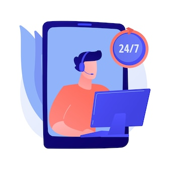 All-day support, round-the-clock assistance, 24 hours call centre. subscriber help, aid service. telephone calls and messages operator cartoon character.