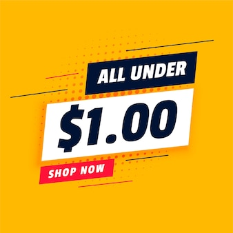 All under dollar one shopping sale banner
