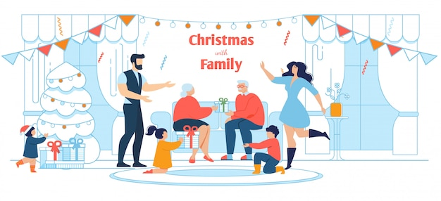 All-in-the-family xmas celebration flat illustration