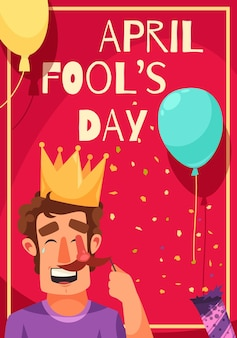 All fools day greeting card with frame text balloons with confetti and laughing man in crown