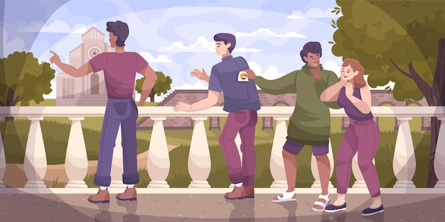 All fools flat composition with outdoor landscape and people attaching paper sheets to their friends back illustration
