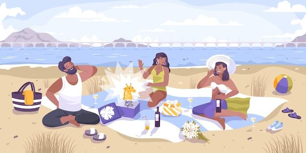 Tutti gli sciocchi sorprendono la composizione piatta con il paesaggio all'aperto della riva del fiume e un gruppo di amici che scherza con l'illustrazione
