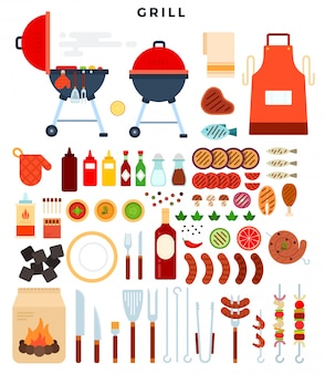 All for grill, big set of elements. different special tools and food for barbecue party.