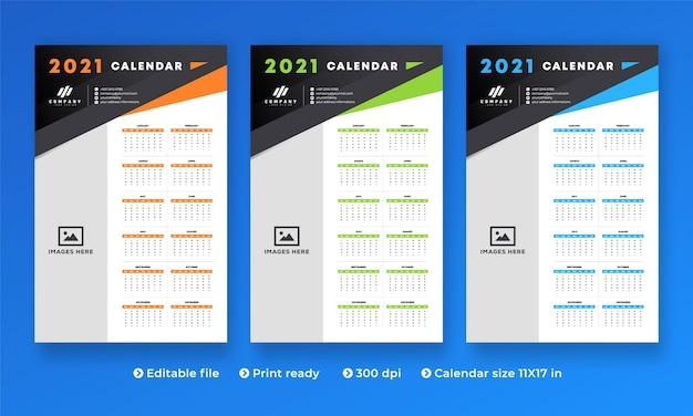 현대적인 크리에이티브 디자인과 1-12 개월의 모든 2021 년 월 달력