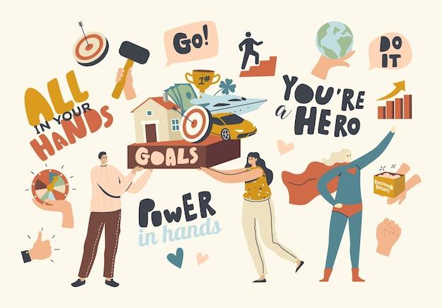 당신의 손에 모든 개념. 성공을 추구하는 캐릭터, 기술 개발, 어린이 꿈 구현. 리더십, 목표 달성 및 삶의 만족을 목표로. 선형 사람들 벡터 일러스트 레이 션