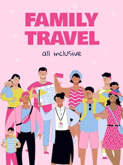 All inclusive family travel poster with cartoon people on summer vacation