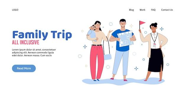 모든 것을 포함하는 가족 여행 여행 배너 템플릿 만화 관광 커플