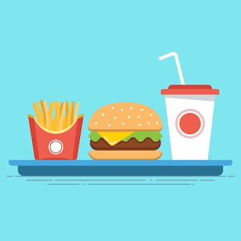 All-inclusive fast food on a tray. junk food. flat   illustration.