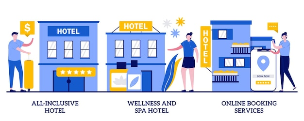 모든 것을 포함하는 호텔, 웰빙 및 스파 호텔, 작은 사람들과 온라인 예약 서비스 개념. 환대 산업 추상적인 벡터 일러스트 레이 션을 설정합니다. 고급 호텔, 객실 예약은 유.