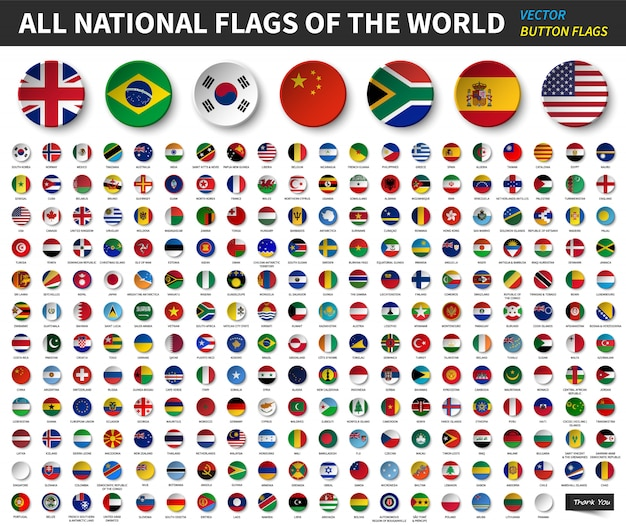 Все национальные флаги мира. круговой дизайн вогнутой кнопки. вектор элементов