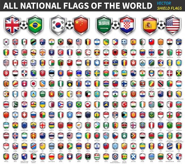 世界のすべての国旗。シールドフラグのデザイン。スポーツおよびサッカー競技。要素。