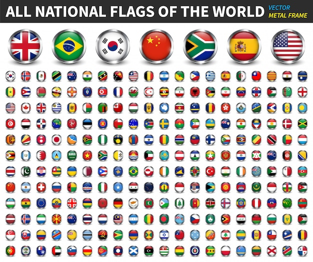 All national flags of the world . circle metal frame with sparkle