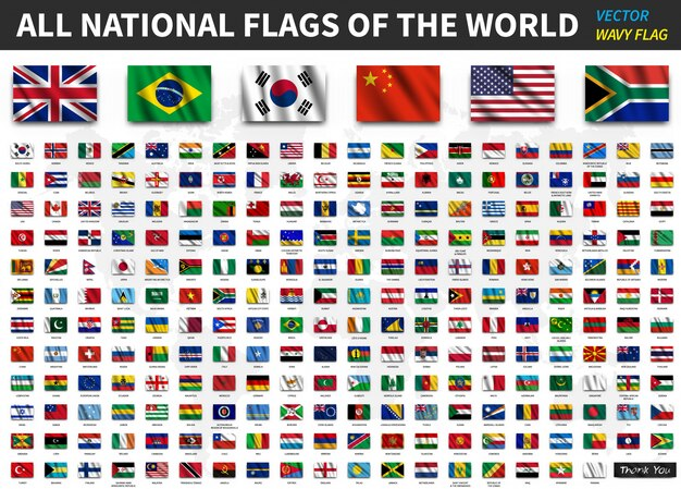 photograph relating to Flags of the World Printable Pdf titled Flags of the world wide variety Vector Free of charge Down load