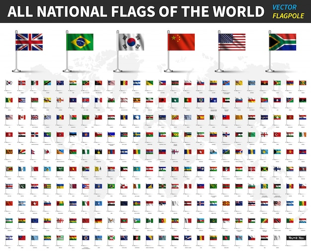 All national flags of the world. realistic waving fabric with flagpole