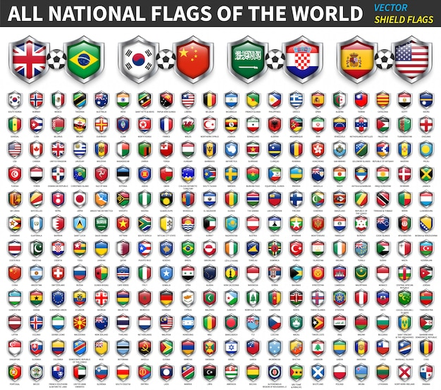 All national flags of the world . shield flag design . sport and soccer competition  . element  .