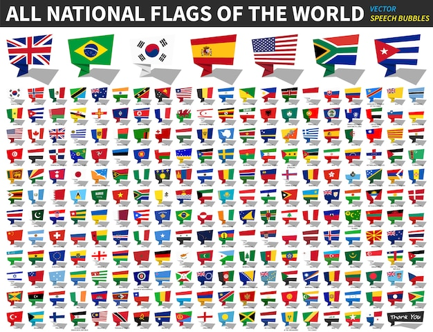 All national flags of the world . speech bubbles design