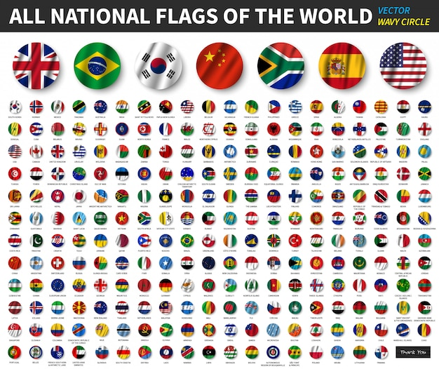 All national flags of the world . waving circle flag design
