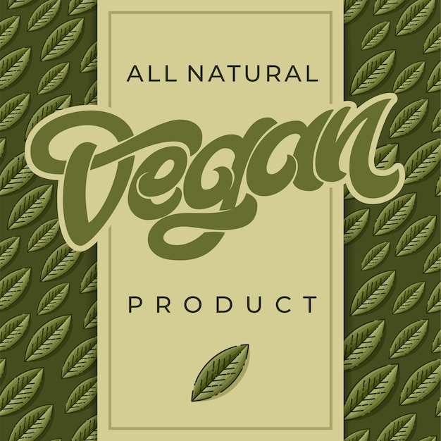 All natural vegan product word or text with green leaf.