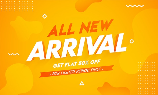 All new arrival banner design with get 50% off