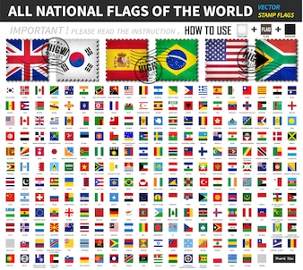 All official national flags of the world. Old stamp shape design with scratch