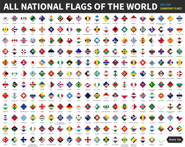 All official national flags of the world. diamond or rhomboid shape design