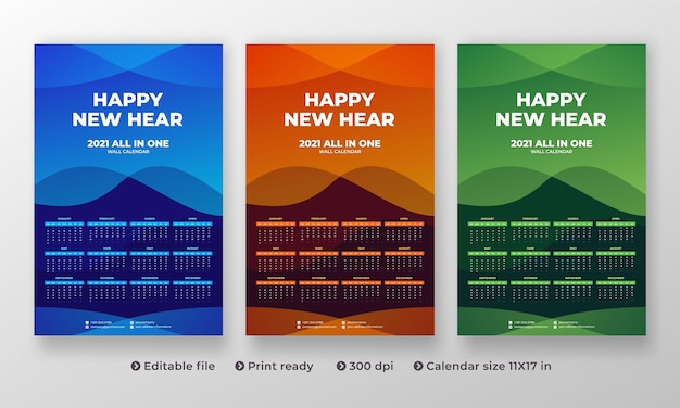 All in one 2021 wall calendar with modern creative design and 1 to 12 month