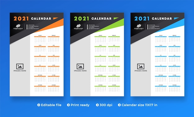 All in one 2021 wall calendar with modern creative design and 1 to 12 month Premium Vector