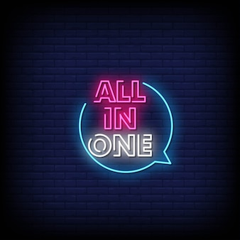 All in one neon signs style text