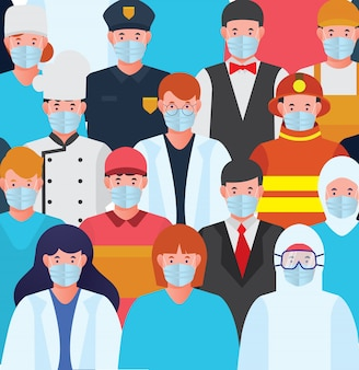 All profession with mask protective epidemic stop virus corona feed premium free download