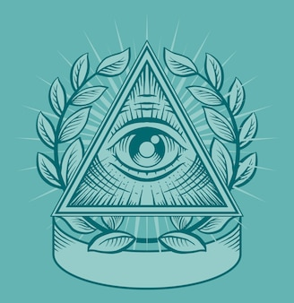 All seeing eye. black and white  illustration