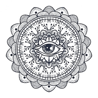 All seeing eye in mandala