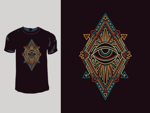 모든 보는 눈 네온 기하학 티셔츠 디자인 프리미엄 벡터
