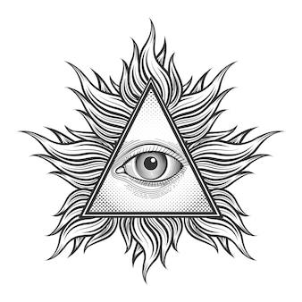 Simbolo della piramide occhio vedente tutto nello stile del tatuaggio dell'incisione. massone e spirituale, illuminati e religione, triangolo magico,