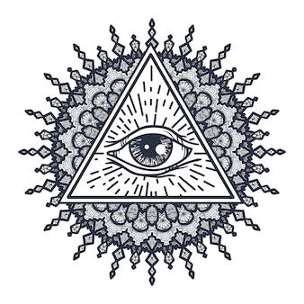 All seeing eye in triangle and mandala