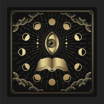 All seeing eye with book and moon phase decorations
