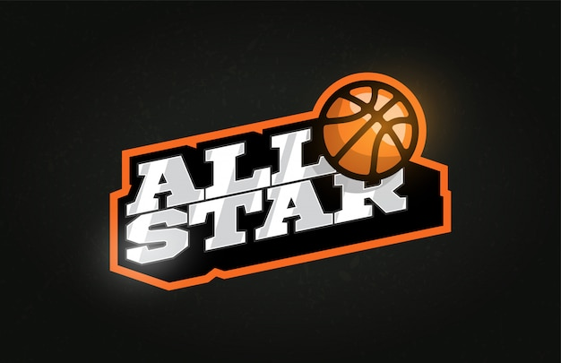 All star modern professional typography basketball sport retro style