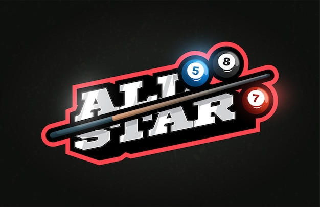 All star modern professional typography billiard sport retro style vector emblem and logo design