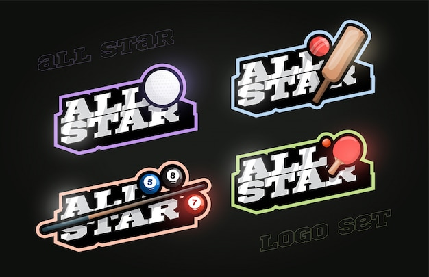 All star retro style sport logo set