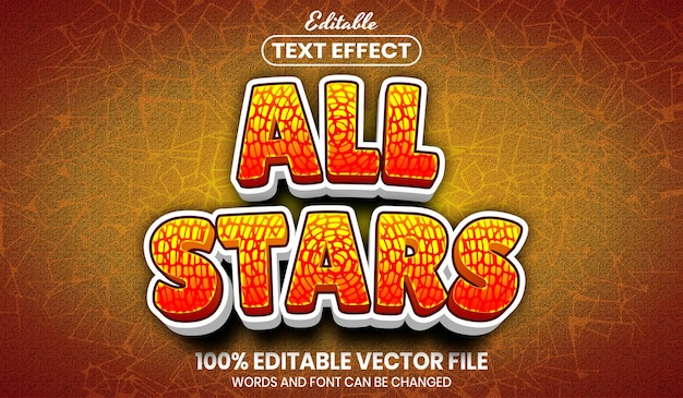 Текст всех звезд, редактируемый текстовый эффект стиля шрифта