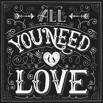 All you need is love hand-lettering card