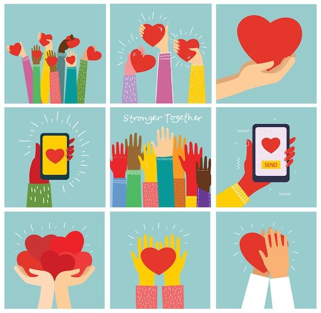 Все, что тебе нужно - это любовь. руки и люди с сердечками как любовные послания.