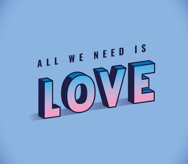 All you need is love lettering on blue background design, typography retro and comic theme