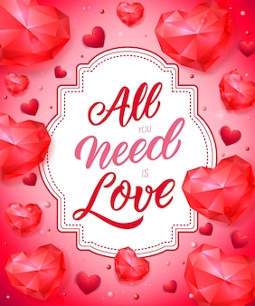 All you need is love lettering on tag